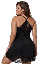 Черная сорочка Venecia с кружевной отделкой