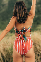 Orange Floral Print Patchwork Stripes One-piece Swimsuit