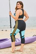Sky Blue Color Block Patchwork Plus Size Surfing Rash Guard