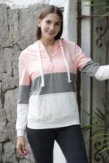 Ροζ Χρώμα Block Zipped Hoodie