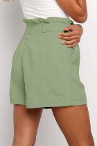 Green Frilled Shorts med høy midje