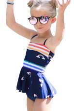 Rainbow Stripes Print Peplum Little Girls badedrakt