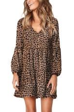Leopard Ruffle v-hals flowy løs tunika kjole