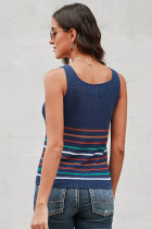 Multicolor Stripes Blue Strik Tank Top