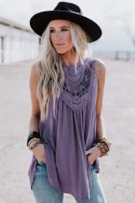 Violet blonder broderet ærmeløs top
