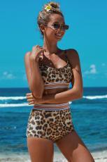 Leopard todelt høy midje bikini