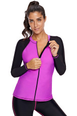 Fuchsia preto Colorblock Zip Down Rashguard Top
