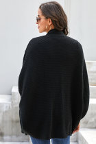 Black Patch Pockets Batwing Sleeve Cardigan