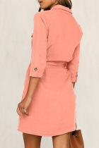 Orange Seeker Belted Shirt kjole