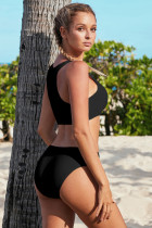 Black Hollow-out Bust Crop Tank Bikini Plavky