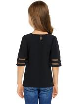 Černá dívka je 3 / 4 Bell Sleeve Mesh Panel Blouse