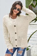 Cardigan con cappuccio lavorato a maglia beige