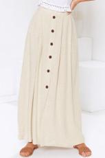 Beige Buttoned Maxi Skirt