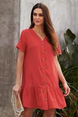 Κόκκινο τσέπη με κουμπιά κάτω φόρεμα