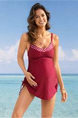 أحمر تانك الأعلى ملابس السباحة الأمومة مع اللباس الداخلي