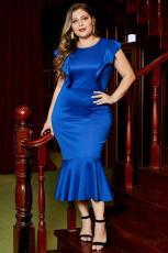 Blå rufset kort erme knelengde formell Plus Size kjole
