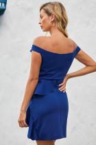 Blå brodert Off Shoulder Neck Cascading Mini Dress