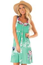 Grønn Floral Print Ermeløs Button Up Dress