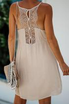 Μπεζ φόρεμα μίνι φόρεμα