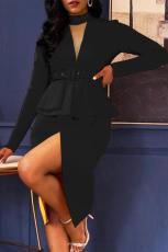 Svart langermet Falbala asymmetrisk pullover kjole