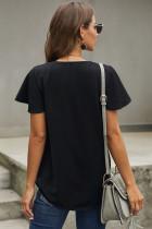 Tricou negru cu mânecă scurtă în gât V