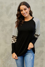 Black Striped and Leopard Color Blind Sleeve Top