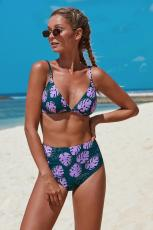 Purple Print Bralette bikini med høj talje