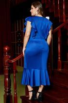 Blauwe gegolfde korte mouw knielengte formele plus-maat jurk
