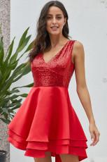 Heart Broken Red Gold Sequin Multi Layer Skater Dress