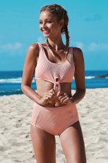 Set de bikini croiți cu nodul roz