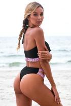 Musta Ruffle Bandeau Bikini-uimapuku