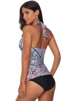 Costum de baie cu guler Tankini cu model retro floral multicolor