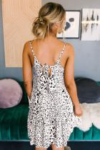 Hvit Tiered Leopard Babydoll kjole