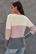 Mørkegrå farveblok nettet struktur Pullover Sweater