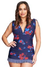 Tankini Ruched Blue Plus Size Blue Skater