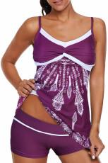 Purple Twist Pleated Bust Flared Tankini asettaa uimapuku