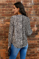 Leopard Out Of Sight Drape Blouse med blandet trykk