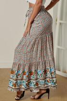 Multicolor Boho Floral Print Elastis Tinggi Pinggang Lipit A Line Maxi Skirt