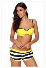 Keltainen ryppyinen rintaliivit raidallinen Bikini Bottom uimapuku