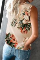 Kevir V Neck Lace Trim Floral Tank