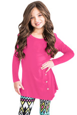 Rose Little Girl Long Sleeve Button Tunika