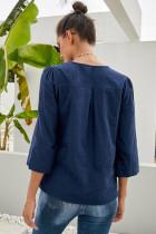 Blå Boho Brodert V Neck 3 / 4 Ermeløs Casual Bluse