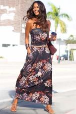 Purple Bohemian Bandeau Floral Print Maxi Dress