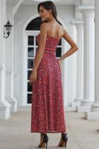 Red Bohemian Bandeau Floral Print Maxi Dress