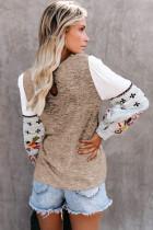 Khaki kontrast trykte ermer strikkede gensere