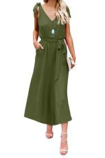 الأخضر BOWKNOT الكتف الأشرطة جيرسي اللباس مع حزام