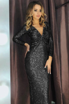 Sort langærmet V-hals Twist Ruched Sequin Party Maxi kjole