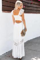 White Summer Smocked Lace Maxi Dress
