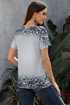 Grey Loose Snow Leopard Top