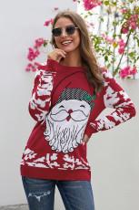 Red Reindeer Santa Clause Cartoon Print Ugly Christmas Sweater
